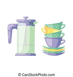 Clean cups dishware vector illustration. - Tableware cup and...