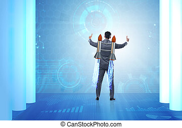 Man with jet pack in business concept