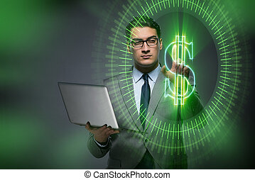 Man in online currency trading concept