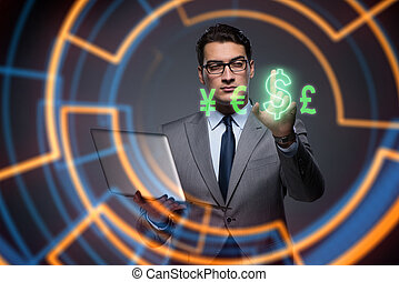 Businessman in online currency trading concept