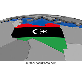 Libya on 3D globe - Map of Libya with embedded flag on...