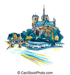 Cathedral of Notre Dame de Paris - Gloomy cityscape with...