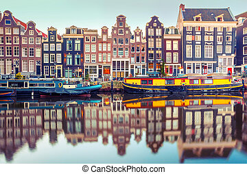 Amsterdam canal Singel with dutch houses - Amsterdam canal...