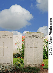 Graves of unknown fallen soldiers in World War I at Tyne Cot cemetery in Passchendaele, Ypres, Flanders