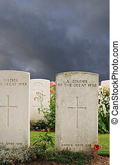 Graves of unknown fallen soldiers in World War I at Tyne Cot...