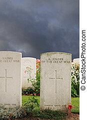 tombes, inconnu, baissé, soldats, mondiale, guerre,...