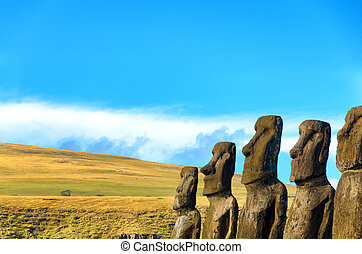 Row of Moai Statues - Row of Moai on Easter Island, Chile