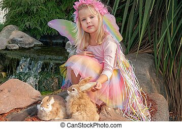 fairy girl with rabbits - cute blond fairy girl with bunnies...