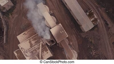 Flight to the drone of the old factory for the production of...