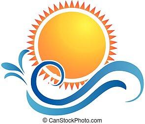 Sun swirly waves logo - Sunset beach water splash vector...