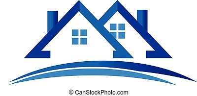 Houses logo vector - Houses apartments with road swoosh icon...
