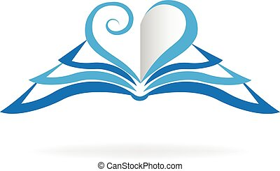 Book love shape logo - Book blue heart love shape icon logo....