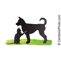 Cat and dog silhouettes logo vector icon image