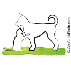 Logo cat and dog playing - Cat and dog playing silhouette...