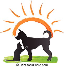 Cat and dog logo - Cat and dog in a sunny day. Vector icon...