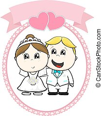 happy cute bride and groom