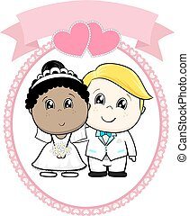 inter racial wedding cartoon - inter racial couple bride and...
