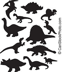Dinosaur Silhouettes - A vector illustration of some...