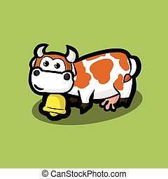 cute cow with a golden bell around on neck on a green meadow. White cow with red spots on her side