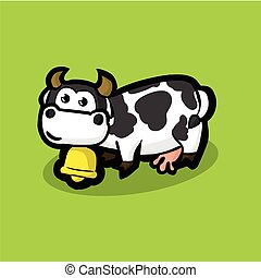 cute cow with a golden bell around on neck on a green meadow. White cow with black spots on their sides