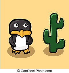 Arctic penguin standing on sand in the desert and is looking at the big green cactus