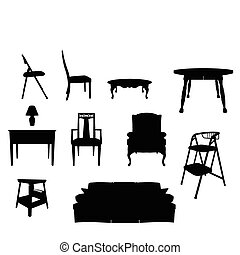 Furniture Silhouettes - A vector illustration of some black...
