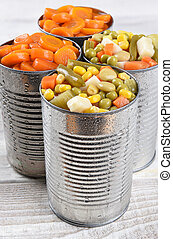 Canned Vegetables - Closeup of a group of cans of mixed...