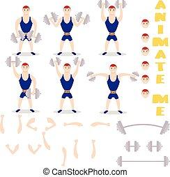 Cartoon man dumbbells exercises squat, deadlift, overhead...