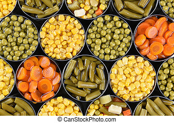 Canned Vegetables - Group of open canned vegetables shot...