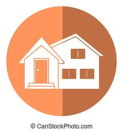 housewarming facade exterior shadow vector illustration eps...