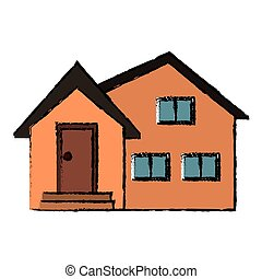 housewarming facade exterior design vector illustration eps...