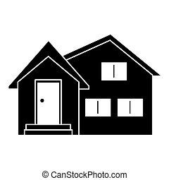 silhouette housewarming facade exterior design vector...
