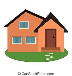 housewarming facade exterior garden design vector...