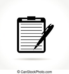 pen with note pad icon - Illustration of pen with note pad...