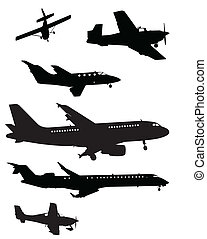 Plane Silhouettes - A vector illustration of some plane...