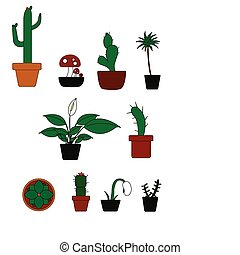 Potted Plants Illustration - A vector illustration of some...