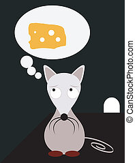 Hungry Mouse Illustration - A vector illustration of a...