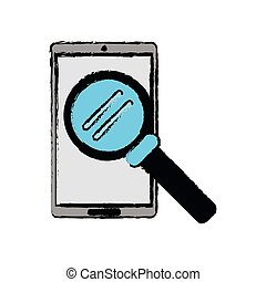 drawing smartphone search wireless technology vector...