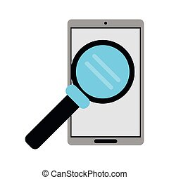 smartphone search wireless technology vector illustration...