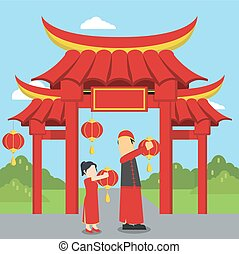 chinese girl helping his father placing chinese lantern