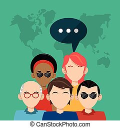community people social media global vector illustration eps...