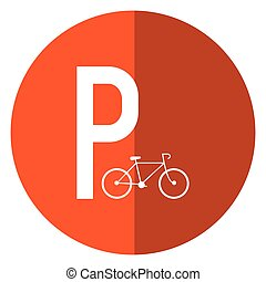 bycicle road sign parking shadow vector illustration eps 10