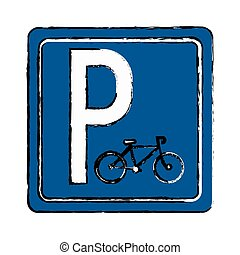 drawing bycicle road sign parking vector illustration eps 10