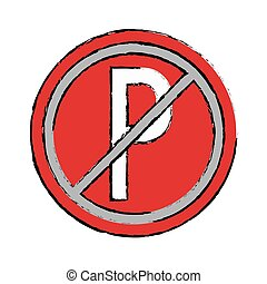 drawing prohibited parking car sign traffic