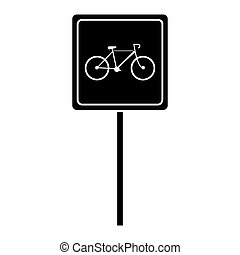 silhouette bycicle road sign parking vector illustration eps...