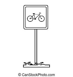 bycicle road sign parking post linear vector illustration...