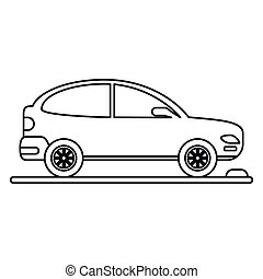 car coupe parking lot linear vector illustration eps 10