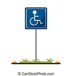 disabled person wheelchair sign road vector illustration eps...