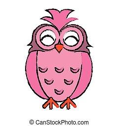 drawing pink owl loving