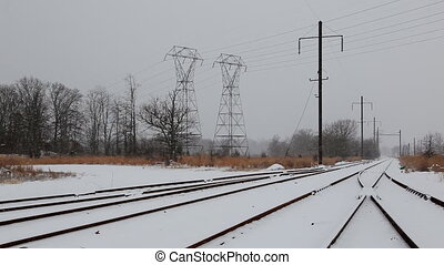 Railway covered with snow.Railroad winter morning.Railroad...